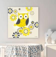 Yellow And Grey Owl Birds Canvas Wall Art Oopsy Daisy