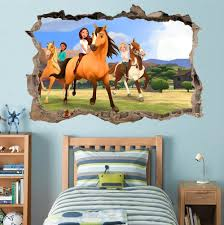 Spirit Riding Free 3d Smashed Wall Sticker Decal Art Mural Horses Kids J593