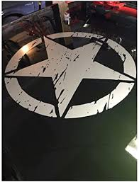 Amazon Com Army Star Distressed Decal Fits Jeep Large 20 Vinyl Military Hood Graphic Body Black Clothing
