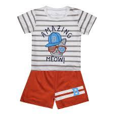 Bộ quần áo cộc tay bé trai in chữ Amazing Kiza (trắng cam ...