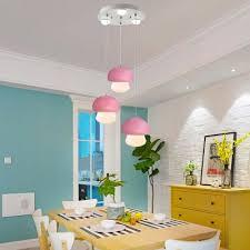 Mushroom Hanging Lamp Macaron Multicolored Plastic Led Suspended Light For Kids Children Room Takeluckhome Com