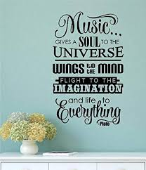 Amazon Com Enchantingly Elegant Da030e Music Gives A Soul To The Universe Vinyl Decal Wall Decor Stickers Lettering Room Decor 22x36 22 X 36 Home Kitchen