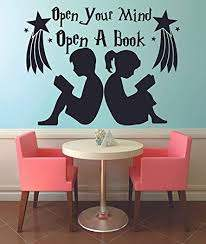 Amazon Com Open Your Mind Open A Book Reading Quotes Wall Sticker Vinyl Wall Decal For Girls Boys Baby Kids Bedroom Nursery Daycare Kindergarten Fun Home Decor Stars Wall Art Vinyl Decoration Size