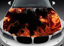 Full Color Graphics Adhesive Vinyl Sticker Fit Any Car Hood Flame Flowers 022 Ebay