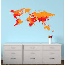 Large World Map Decal In Orange For Kids Nursery