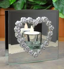 infinity candle holder silver roses