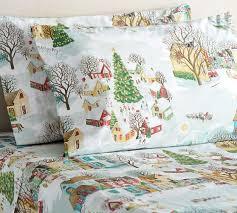 snow village sheet set twin