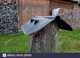 Plastic Cover For Wooden Fence Posts Protection Against Rain And Snow Stock Photo Alamy