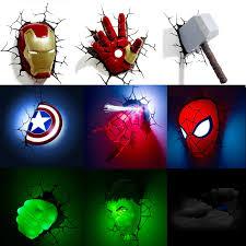 Best Kids Bedroom Lighting Ideas 3d Super Hero Lights Easynightlight Com Wall Lamps Bedroom Spiderman Room Avengers Room