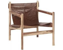 buffalo leather wooden armchair