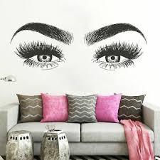 Beautiful Women S Eyes Wall Sticker Beauty Salon Eyelashes Eyebrows Vinyl Decal Ebay
