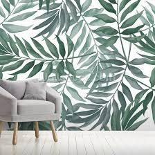 Green Leaves Watercolor Wallpaper Mural Wallsauce Us