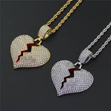 fashion broken heart pendant necklaces