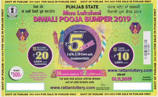 "Image result for Punjab State Maa Lakshmi Diwali Pooja Bumper 2019,"""