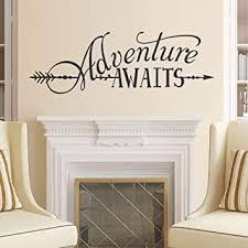 Amazon Com Battoo Adventure Awaits Wall Decal Quote Vinyl Lettering With Arrow Adventure Quote Travel Wall Decal Sticker 52 W 17 5 H Tribal Theme Room Decor Black Kitchen Dining