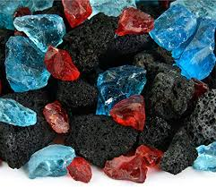 fire glass and lava rock