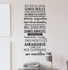 Amazon Com Family Wall Decal Frases De Familia Vinyl Design For Home Decoration Spanish Quote Family Themed Sticker Cg666 22 Width By 48 Height Home Kitchen