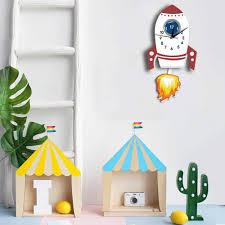 Nordic Style Wall Clock For Kids Room Kindergarten Decoration Acrylic Clocks Childrens Personalised Rocket Shape Clock Kids Room Wall Clocks Aliexpress