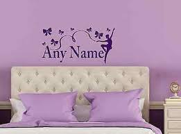 Personalised Ribbon Bows Dance Ballerina Any Name Vinyl Wall Art Sticker Decal
