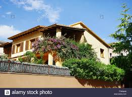 Beautiful Private House With High Fence Stock Photo Alamy