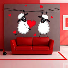 Shop Sheep Love Heart Full Color Wall Decal Sticker K 1117 Frst Size 40 X63 Overstock 21363319
