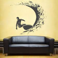 Amazon Com Smydp Surfing Wall Decals Surfer Wall Sticker Surfing Sports Decals Surfboard Wall Decals Waves Wall Decals For Boy S Beadroom 42x45cm Baby