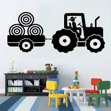 Tractor Vinyl Decal Wall Sticker For Kid S Bedroom Trailer Farm Boy S Room Decoration Wall Decals Monochrome 3d Poster New La872 Wall Stickers For Kids Wall Stickerstickers For Aliexpress