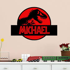 Amazon Com Dinosaur Wall Decal Jurassic Park Personalized Vinyl Wall Decal Home Kitchen