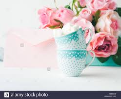 Dos Tazas De Cafe Con Marshmallow Tarjeta Para San Valentin Dia