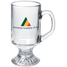pedestal clear glass mug holds 10