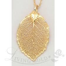 rose leaf pendant necklace in 24k gold