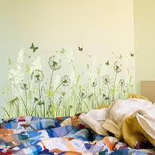 Wild Green Meadow Dandelions Butterflies Wall Art Baseboard Mural For Living Room Nordicwallart Com