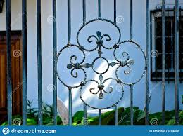 A Floral Design In Cast Iron Fence Stock Image Image Of Bars Facade 185398557