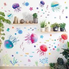 3d Dazzling Ocean Sea Jellyfish Bathroom Wall Stickers Gallery Wallrus Free Worldwide Shipping