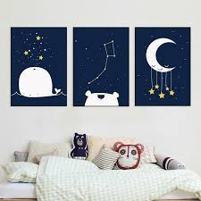 Space Moon Theme Navy Nursery Wall Art Canvas Poster Modern Prints Nordic Poster Art Painting For Baby Boys Kids Room Home Decor Gallery Wallrus Free Worldwide Shipping