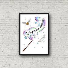 Harry Potter Spell Print Wingardium Leviosa Wand Charm A4 Prints 10x8 Prints Inspiring Wall Art Print Nursery Decor In 2020 Wall Art Prints Art Prints Harry Potter Print