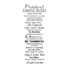 Fully Custom Family Rules Wall Quotes Decal Wallquotes Com