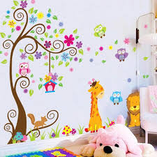 Giraffe Lion Animals Tree Wall Stickers For Kids Room Decoration Diy H Littlezahrabookstore