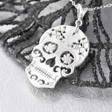 silver sugar skull pendant sugar skull