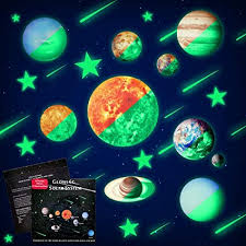 Amazon Com Glow In The Dark Stars And Planets Ceiling Wall Stickers Glowing Bright Solar System Wall Decals With 50pcs Planets Stars Shooting Stars For Kid Bedroom Living Room Arts Crafts Sewing
