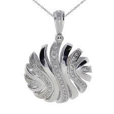 round swirl diamond disc pendant