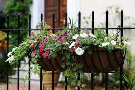 Wrought Iron Hanging Planter Basket And Iron Fence With Simple Arrow Points And White And Purple Fo Fence Planters Hanging Potted Plants Fence Hanging Planters