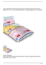 junior cot bed train print duvet cover