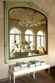 antique mirror and bench seat