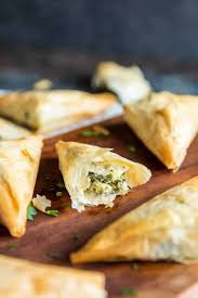 three cheese spanakopita triangles