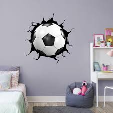 Harriet Bee Sports Soccer Ball In Cracked Hole Wall Decal Wayfair