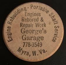 Engine Rebuilding Garage Myra West Virginia WV Souvenir Wooden Nickel Token  Coin | eBay