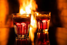 whiskey in a glass with fire in the