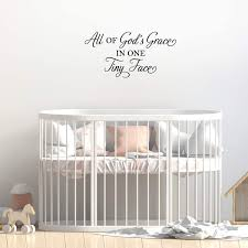 Amazon Com Vinyl Wall Art Decal All Of God S Grace In One Tiny Face 15 X 30 Cute Charming Religious Cursive Quote For Kids Bedroom Playroom Nursery Living Room Indoor