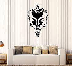 Amazon Com Firstdecals Vinyl Wall Decal Buddha Head Face Buddhism Yoga Stickers Large Decor 1652lk Home Kitchen